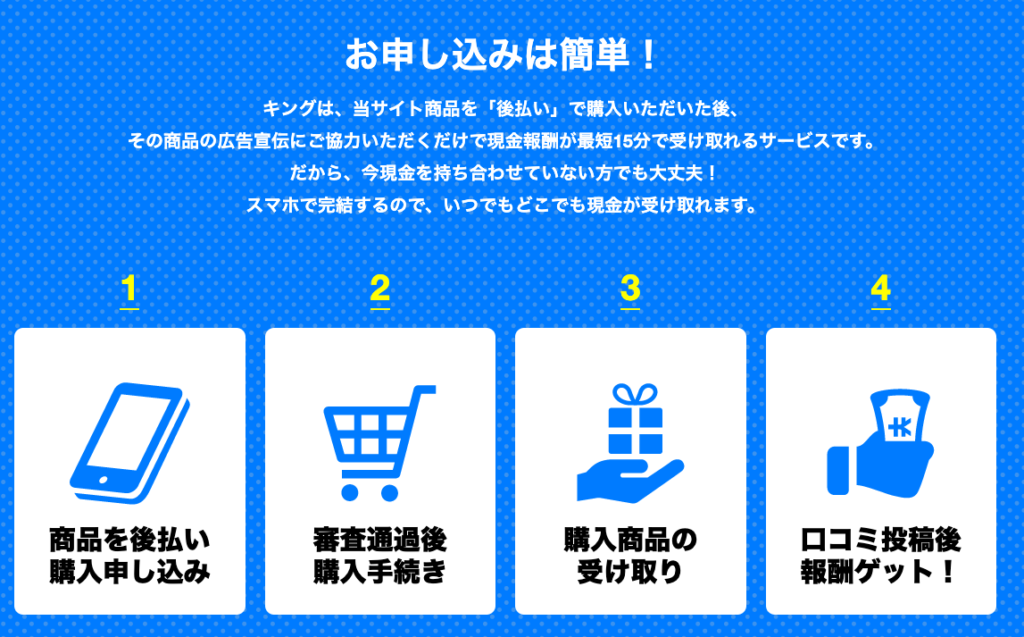King|後払い現金化サービスの申込み方法
